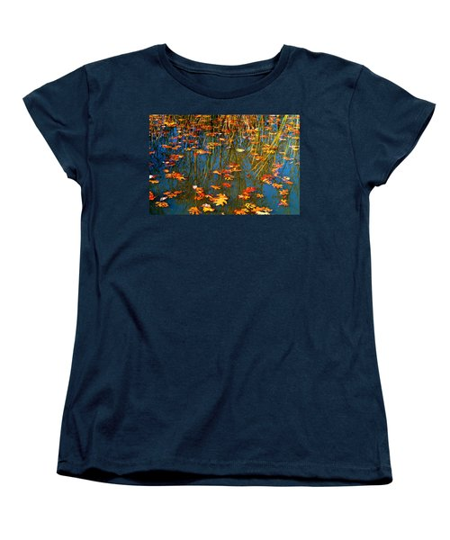 Women's T-Shirt (Standard Cut) featuring the photograph Autumn  Floating by Peggy Franz