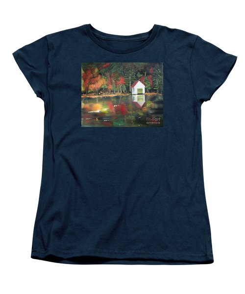 Women's T-Shirt (Standard Cut) featuring the painting Autumn - Lake - Reflecton by Jan Dappen