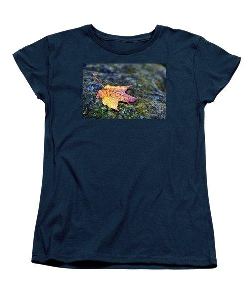 Autumn Leaf On Rocky Ledge Women's T-Shirt (Standard Cut) by Terri Gostola