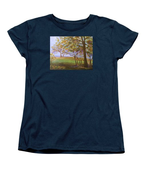 Women's T-Shirt (Standard Cut) featuring the painting Autumn Leaves by Mary Wolf