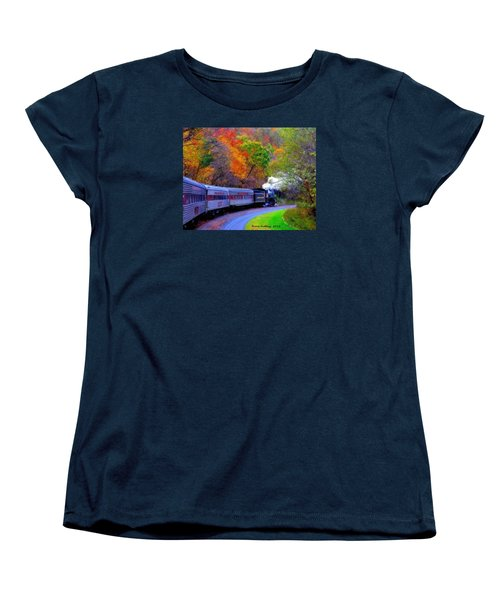 Women's T-Shirt (Standard Cut) featuring the painting Autumn Train by Bruce Nutting