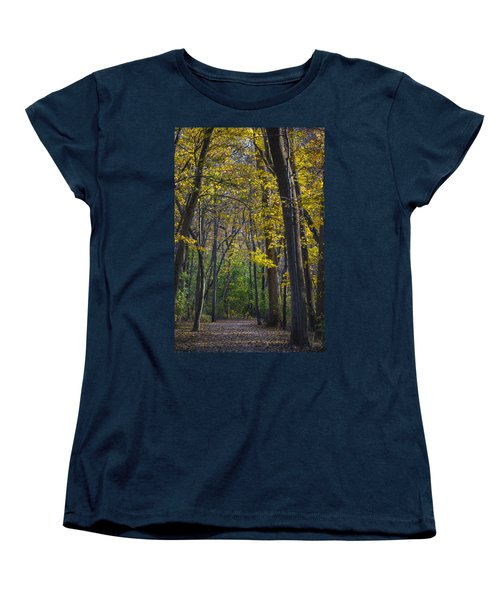 Women's T-Shirt (Standard Cut) featuring the photograph Autumn Trees Alley by Sebastian Musial