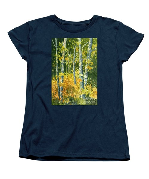 Women's T-Shirt (Standard Cut) featuring the painting Autumn Woods by Lynne Wright