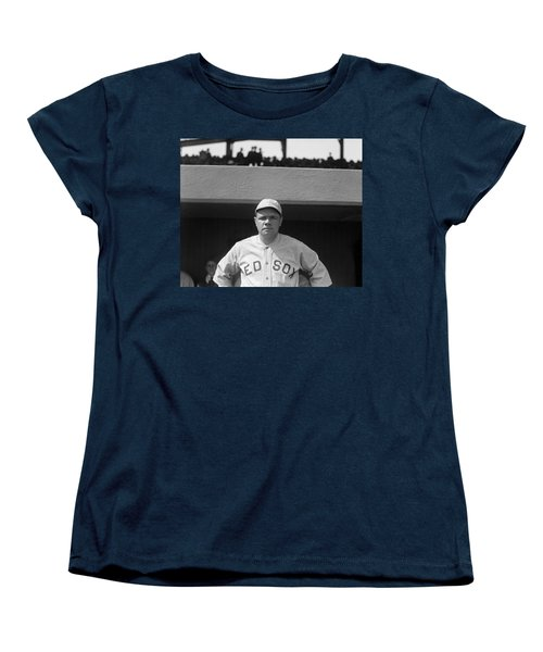 Babe Ruth In Red Sox Uniform Women's T-Shirt (Standard Cut) by Underwood Archives