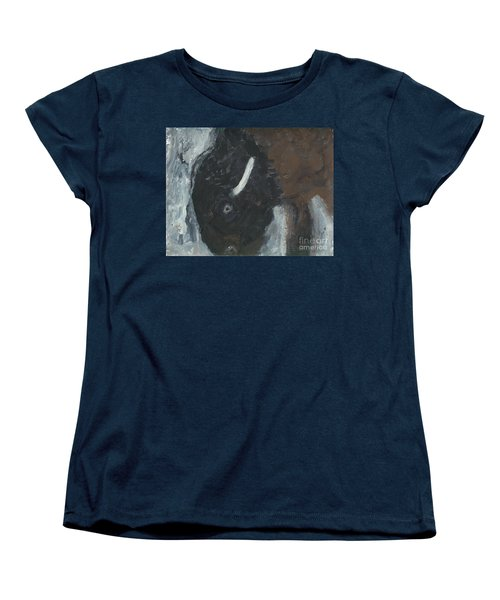 Women's T-Shirt (Standard Cut) featuring the painting Baby Buffalo In The Snow by Barbie Batson