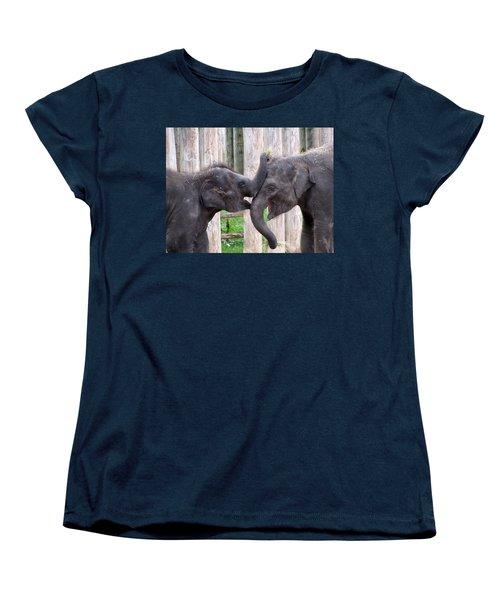 Baby Elephants - Bowie And Belle Women's T-Shirt (Standard Cut) by Pamela Critchlow