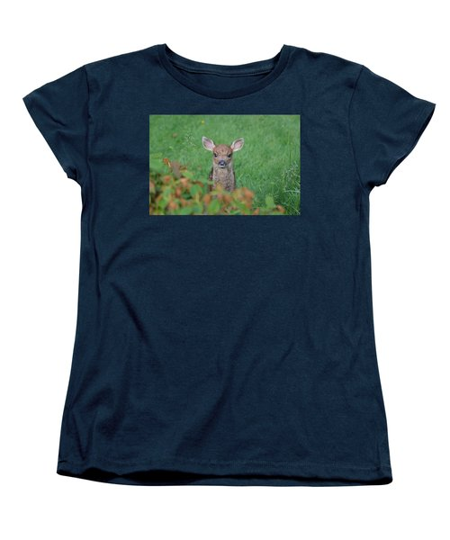 Women's T-Shirt (Standard Cut) featuring the photograph Baby Fawn In Yard by Kym Backland