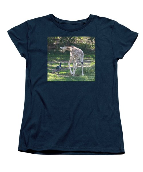 Baby Giraffe And Peacock Out For A Walk Women's T-Shirt (Standard Cut) by John Telfer