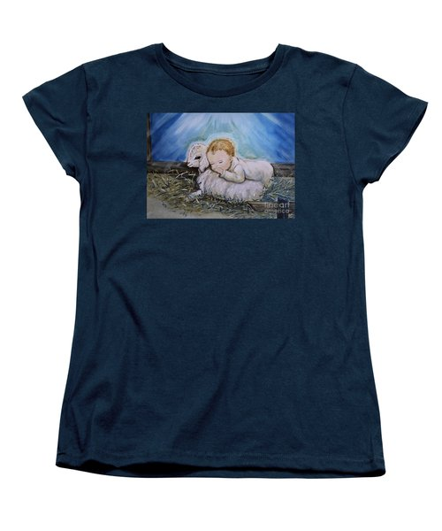 Baby Jesus Little Lamb Women's T-Shirt (Standard Cut) by Nava Thompson