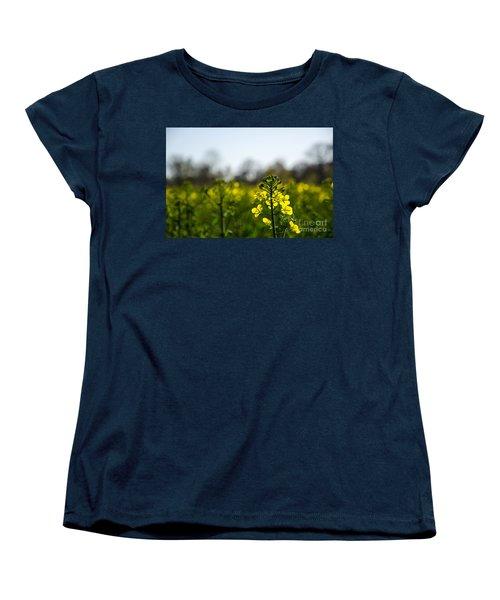 Women's T-Shirt (Standard Cut) featuring the photograph Backlit Canola Flower by Kennerth and Birgitta Kullman