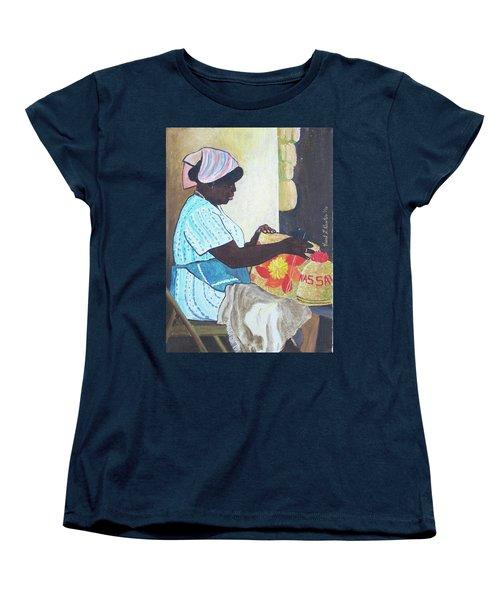 Bahamian Woman Weaving Women's T-Shirt (Standard Cut) by Frank Hunter