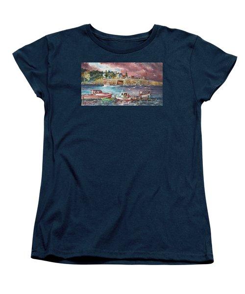 Women's T-Shirt (Standard Cut) featuring the painting Bailey Island Cribstone Bridge by Joy Nichols