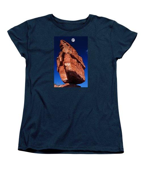 Balanced Rock At Garden Of The Gods With Moon Women's T-Shirt (Standard Cut) by John Hoffman