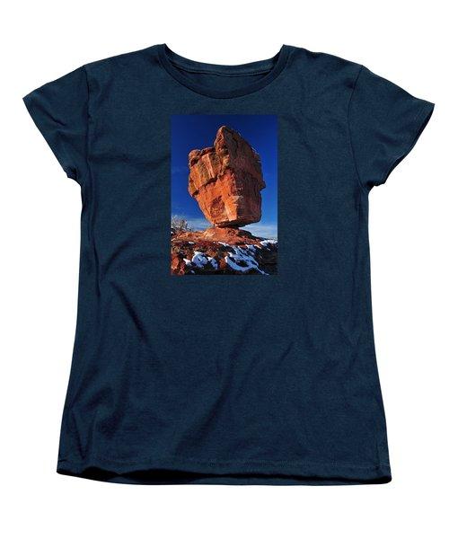 Balanced Rock At Garden Of The Gods With Snow Women's T-Shirt (Standard Cut) by John Hoffman