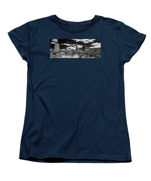 Women's T-Shirt (Standard Cut) featuring the photograph Balanced Rock by Larry Carr