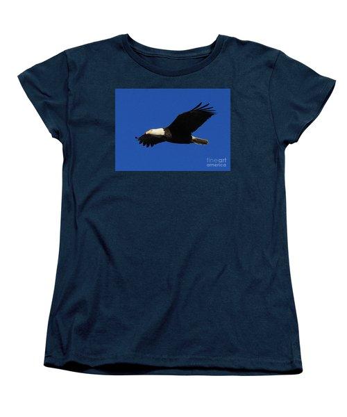 Women's T-Shirt (Standard Cut) featuring the photograph Bald Eagle Lock 14 by Paula Guttilla