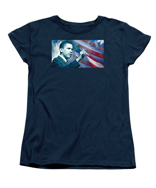 Barack Obama Artwork 2 Women's T-Shirt (Standard Cut) by Sheraz A