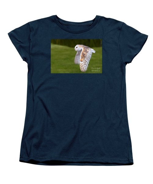 Barn Owl In Flight Women's T-Shirt (Standard Cut) by Nick  Biemans