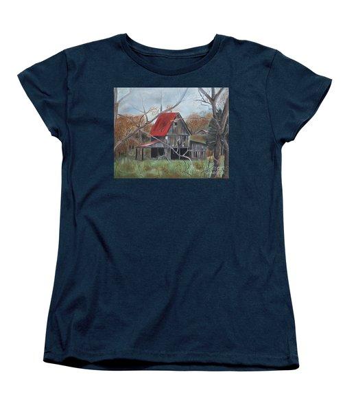 Women's T-Shirt (Standard Cut) featuring the painting Barn - Red Roof - Autumn by Jan Dappen