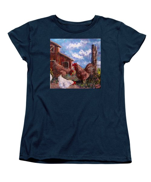 Women's T-Shirt (Standard Cut) featuring the painting Barnyard by Megan Walsh
