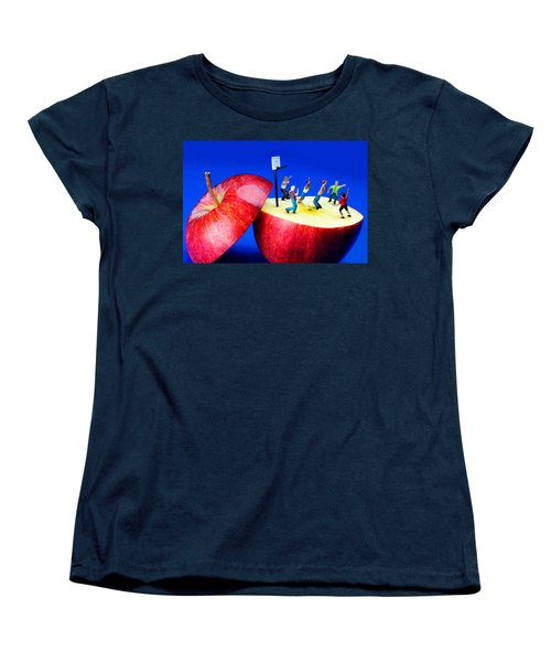 Basketball Games On The Apple Little People On Food Women's T-Shirt (Standard Cut) by Paul Ge