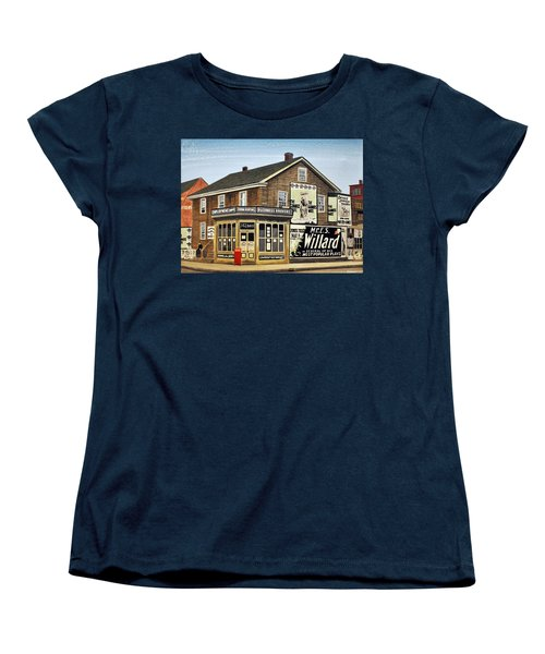 Women's T-Shirt (Standard Cut) featuring the painting Bay And Adelaide Streets 1910 by Kenneth M  Kirsch