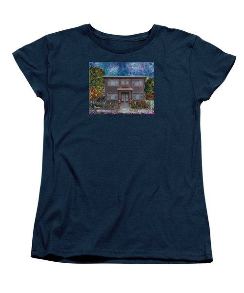 Women's T-Shirt (Standard Cut) featuring the mixed media Alameda Bayview 1926 - Colonial Revival by Linda Weinstock