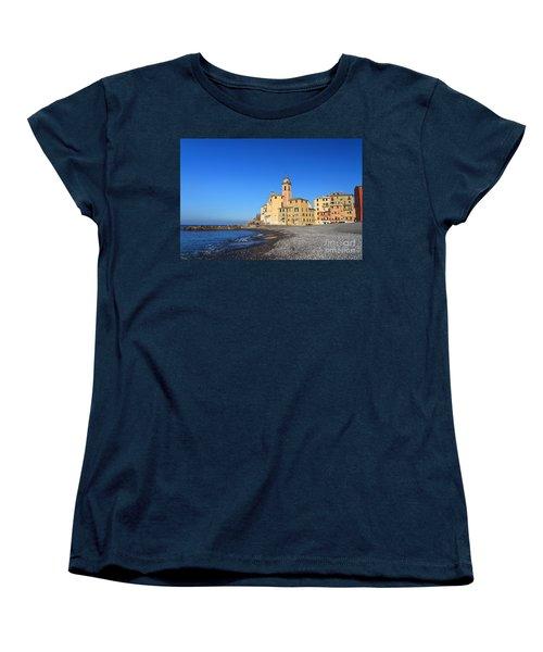 Women's T-Shirt (Standard Cut) featuring the photograph beach and church in Camogli by Antonio Scarpi