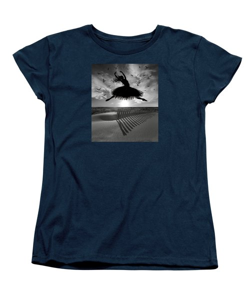 Beach Ballerina Women's T-Shirt (Standard Cut) by Nina Bradica