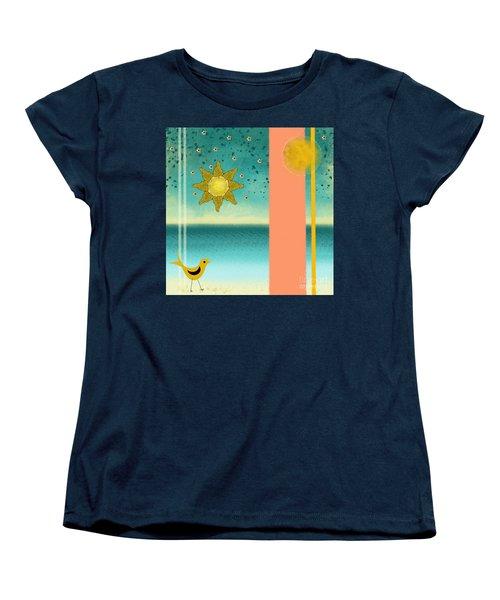 Women's T-Shirt (Standard Cut) featuring the painting Beach Bird by Carol Jacobs
