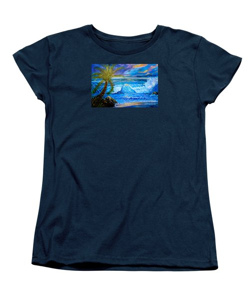 Women's T-Shirt (Standard Cut) featuring the painting Beach Sunset In Hawaii by Jenny Lee