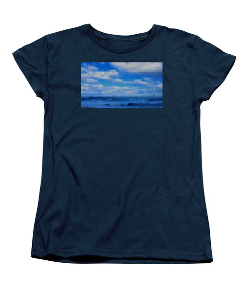 Women's T-Shirt (Standard Cut) featuring the painting Beach Through Artificial Eyes by David Mckinney
