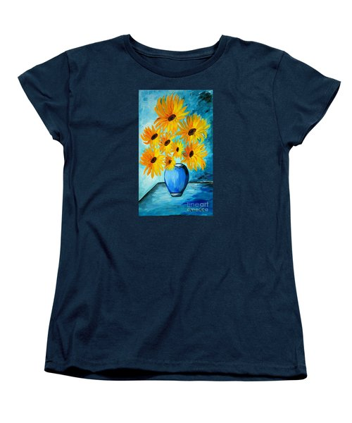 Beautiful Sunflowers In Blue Vase Women's T-Shirt (Standard Cut) by Ramona Matei