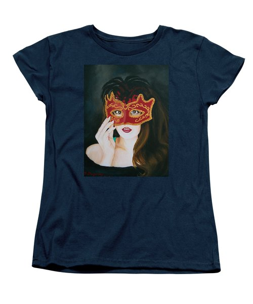 Women's T-Shirt (Standard Cut) featuring the painting Beauty And The Mask by Sharon Duguay