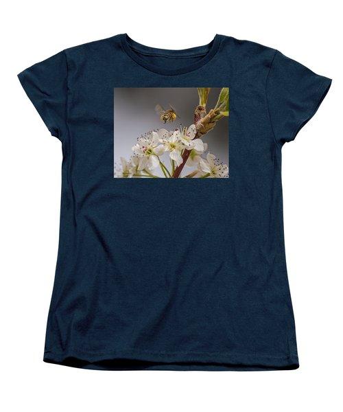 Bee Working The Bradford Pear 2 Women's T-Shirt (Standard Cut) by Allen Sheffield