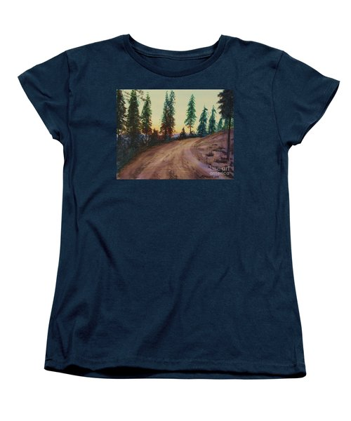 Women's T-Shirt (Standard Cut) featuring the painting Bergebo Forest by Martin Howard