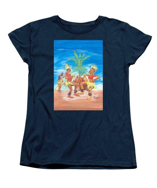 Women's T-Shirt (Standard Cut) featuring the painting Bikutsi Dance 3 From Cameroon by Emmanuel Baliyanga