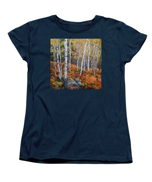 Birch Trees Women's T-Shirt (Standard Cut) by Alexandra Maria Ethlyn Cheshire