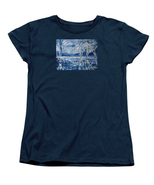 Birches In Blue Women's T-Shirt (Standard Cut) by Ellen Levinson