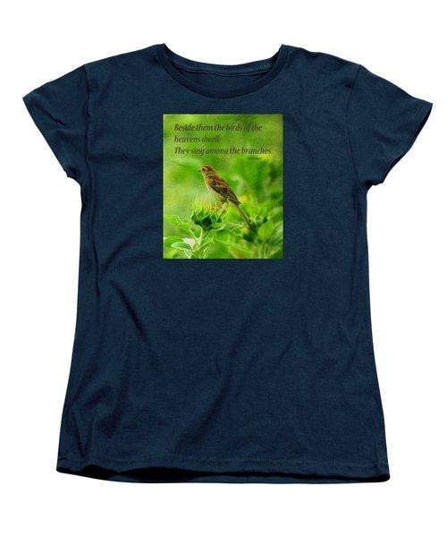 Bird In A Sunflower Field Scripture Women's T-Shirt (Standard Cut) by Sandi OReilly