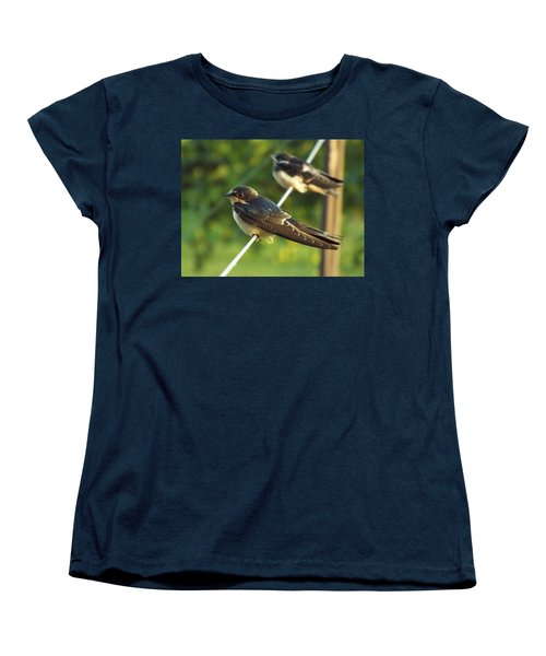 Birds On A Wire Women's T-Shirt (Standard Cut) by Caryl J Bohn