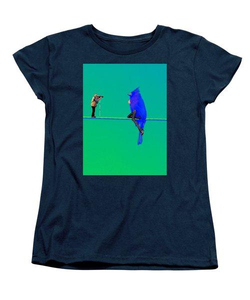 Women's T-Shirt (Standard Cut) featuring the painting Birdwatcher by David Mckinney