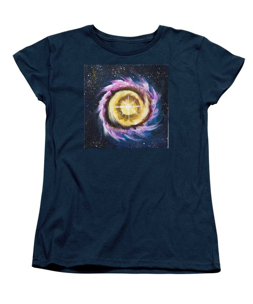 Women's T-Shirt (Standard Cut) featuring the painting Birth Of A Star by Yulia Kazansky