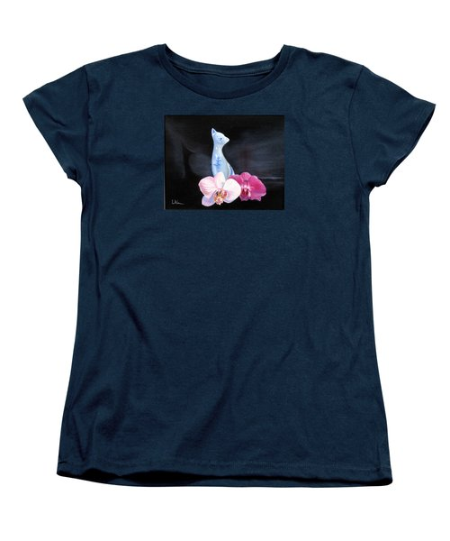 Women's T-Shirt (Standard Cut) featuring the painting Birthday Party Cat by LaVonne Hand