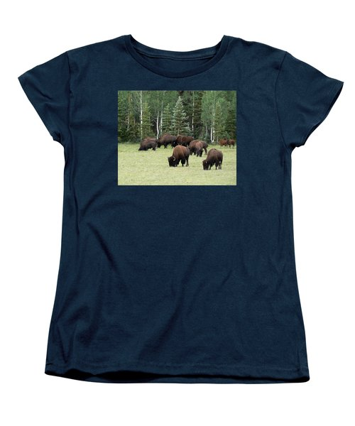 Bison At North Rim Women's T-Shirt (Standard Cut) by Laurel Powell