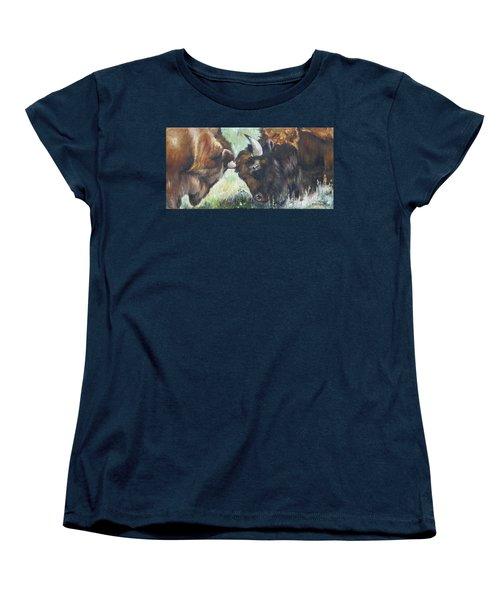 Women's T-Shirt (Standard Cut) featuring the painting Bison Brawl by Lori Brackett