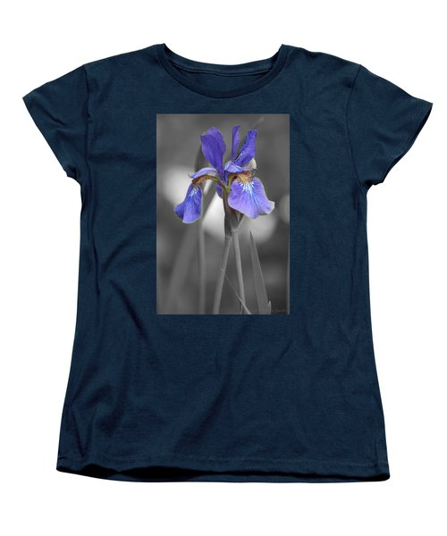 Black And White Purple Iris Women's T-Shirt (Standard Cut) by Brenda Jacobs