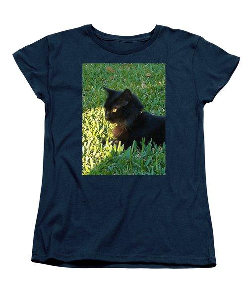 Black Cat Women's T-Shirt (Standard Cut) by Deborah Lacoste