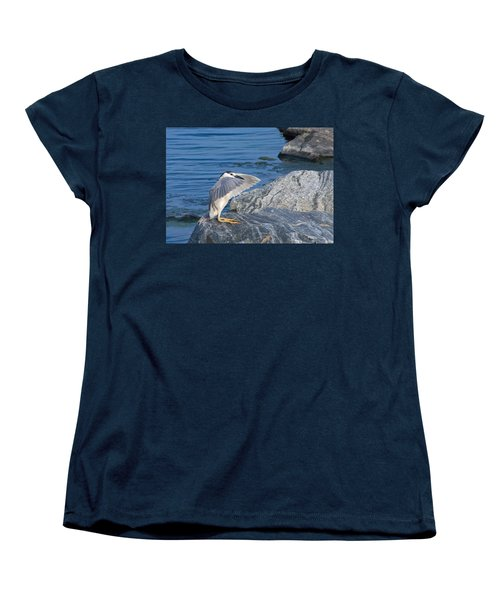 Women's T-Shirt (Standard Cut) featuring the photograph Black Crowned Night Heron by Greg Graham