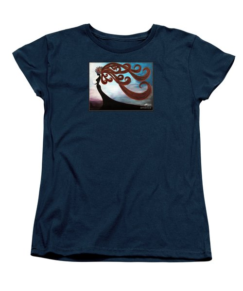 Women's T-Shirt (Standard Cut) featuring the painting Black Magic Woman by Jolanta Anna Karolska